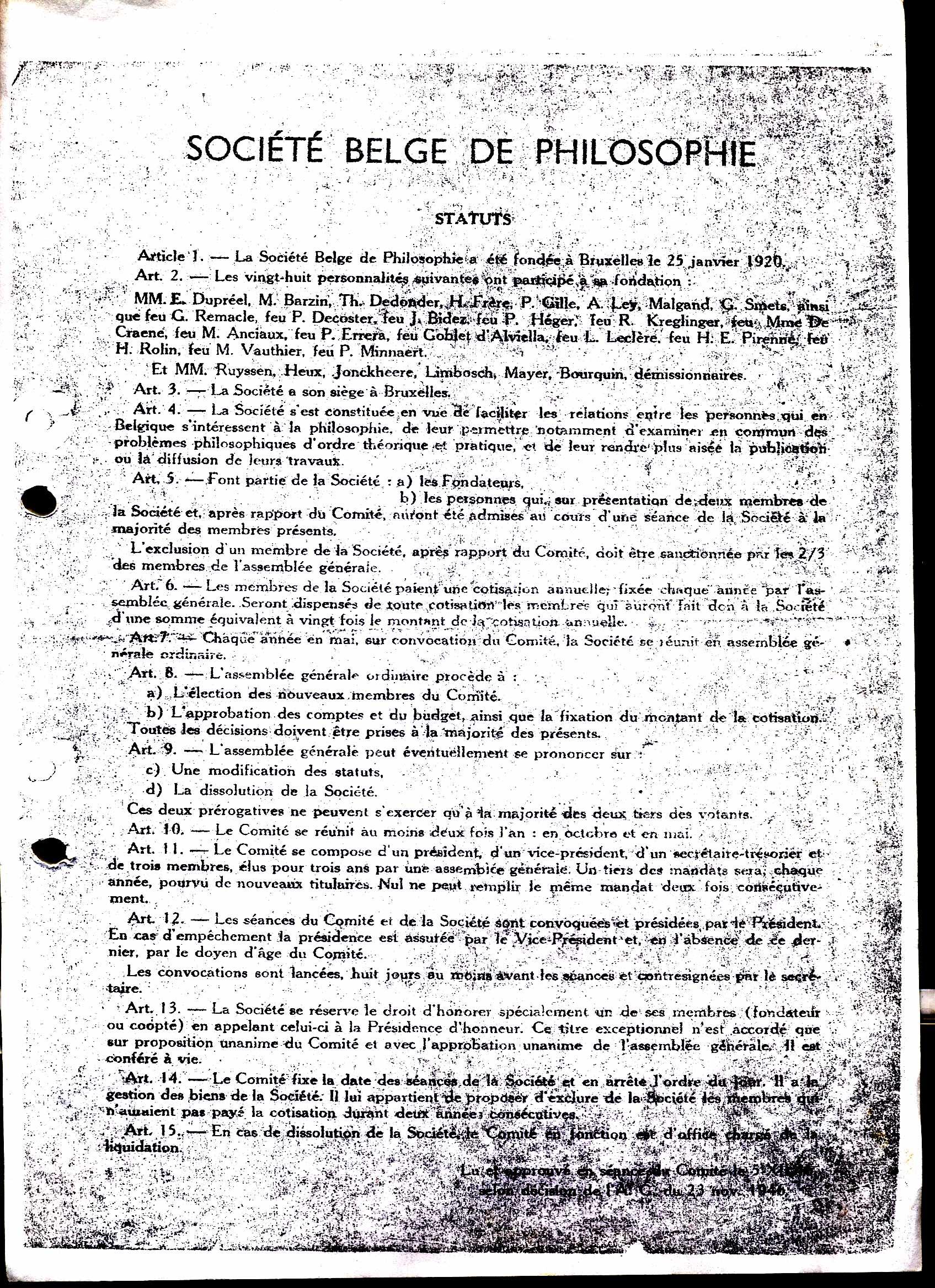Statuts de la Société belge de philosophie (1946)